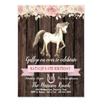 Horse Watercolor Flower Girl Pony Birthday Party Invitation