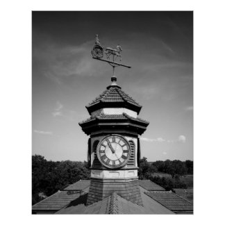 Horse Weather Vane and Clock Tower Poster