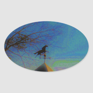 Horse Weather Vane colorful Sky Oval Sticker