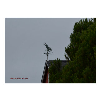 Horse Weathervane on a Red Barn Poster