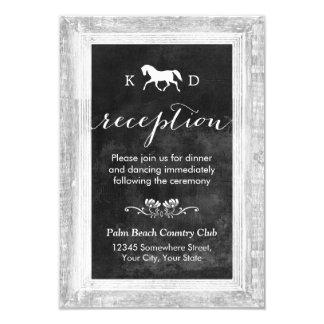 Horse Wedding Reception Vintage Wood Framed Card