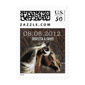 horse  western country wedding save the date postage