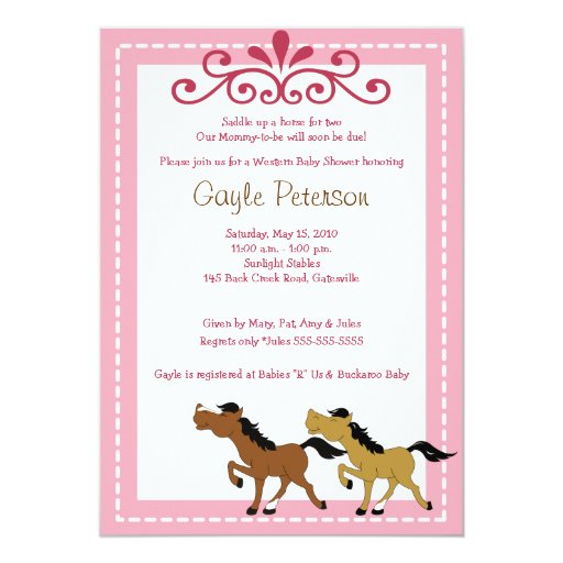 HORSE Western Cowgirl 5x7 Baby Shower Invitation