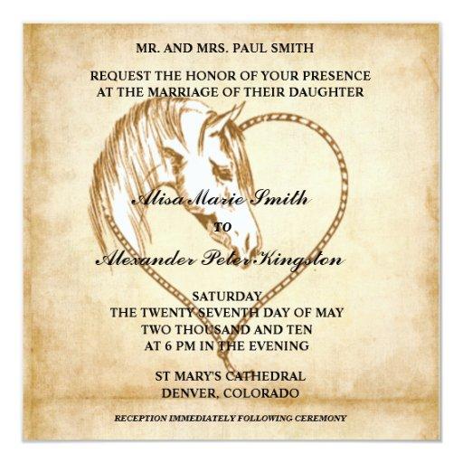 "Horse Western Wedding invitations Announcements 5.25"" Square Invitation Card"