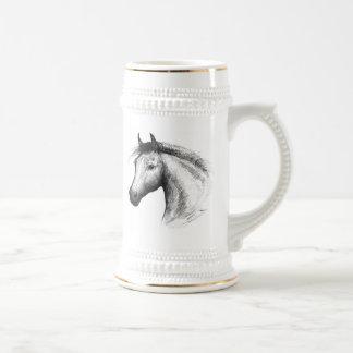 Horse:  White Beer Stein