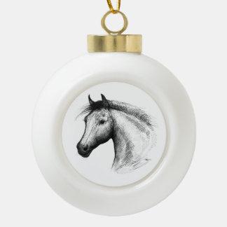 Horse:  White Ceramic Ball Christmas Ornament