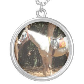 Horse white round pendant necklace