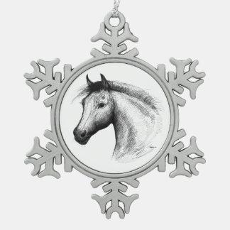 Horse:  White Snowflake Pewter Christmas Ornament