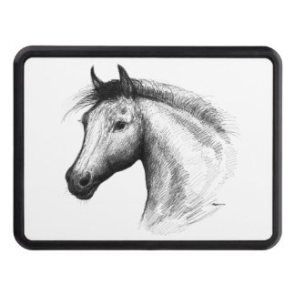 Horse:  White Tow Hitch Cover