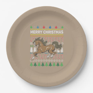 Horse Wildlife Merry Christmas Ugly Sweater Paper Plate