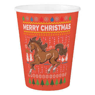 Horse Wildlife Merry Christmas Ugly Sweater Style Paper Cup