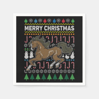 Horse Wildlife Merry Christmas Ugly Sweater Style Paper Napkin