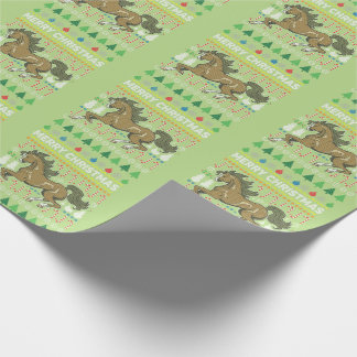 Horse Wildlife Merry Christmas Ugly Sweater Style Wrapping Paper