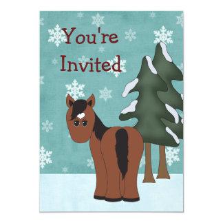 Horse Winter Birthday Invitation