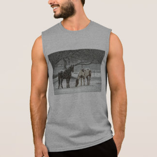 horse winter snow farm ranch animals snowy frozen sleeveless shirt