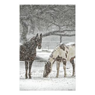 horse winter snow farm ranch animals snowy frozen stationery