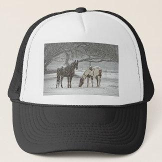 horse winter snow farm ranch animals snowy frozen trucker hat