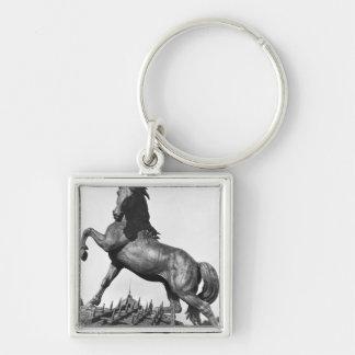 Horse with a harrow keychain