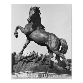 Horse with a harrow poster