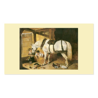 Horse With Children Vintage Business Card