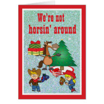 Horse With Gifts and Stick Horse Kids Card
