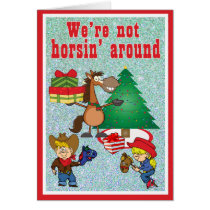 Horse With Gifts and Stick Horse Kids Holiday Card