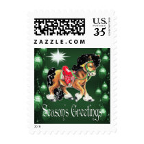 Horse With Green Ornaments  Green Season's Greetin Postage