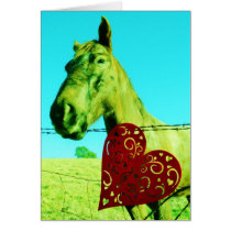 Horse with red hearts card