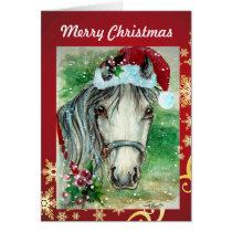 Horse with Santa Hat Christmas  Card