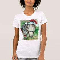 Horse with Santa Hat Holiday Tee Shirt