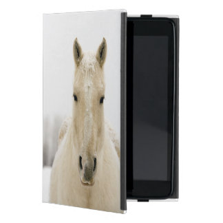 Horse with snow on head iPad mini cases