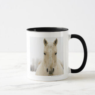 Horse with snow on head mug