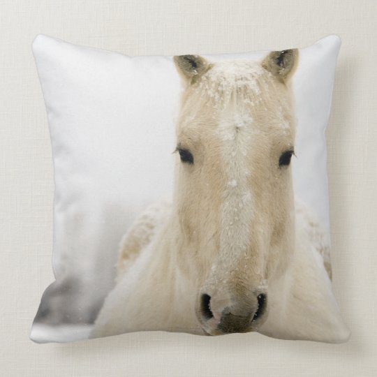 Horse with snow on head throw pillow