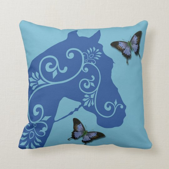 Horse with swirls in blue pillow