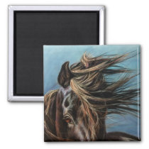 Horse with windblown mane: magnet