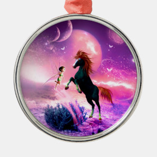Horse with wonderful fairy metal ornament