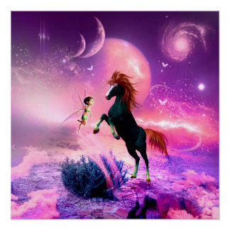 Horse with wonderful fairy poster