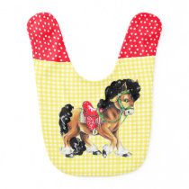 Horse With Yellow Check Background Bib