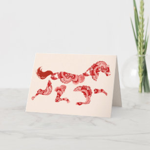 horse zodiac cream blank chinese new year card