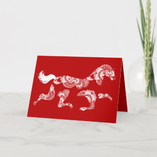 horse zodiac red blank chinese new year card
