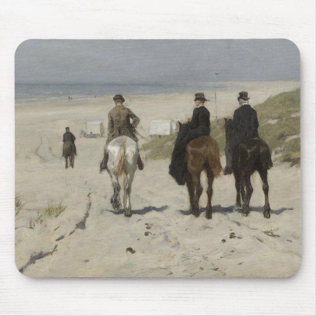 Horseback Ride along the Beach - Art Mousepad