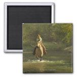 Horseback rider 17 2 inch square magnet