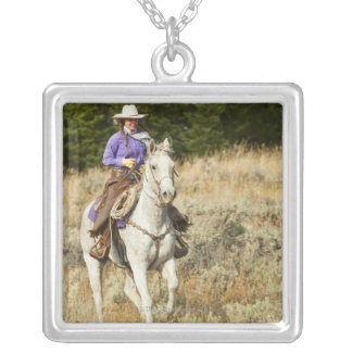 Horseback rider 20 silver plated necklace