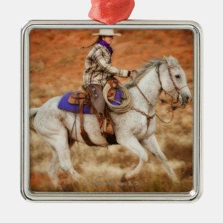 Horseback rider 2 metal ornament