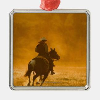 Horseback rider 3 metal ornament