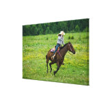 Horseback rider galloping in rural pasture stretched canvas prints