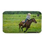 Horseback rider galloping in rural pasture Case-Mate iPhone 3 cases