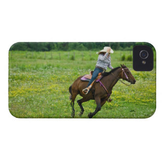 Horseback rider galloping in rural pasture iPhone 4 Case-Mate case
