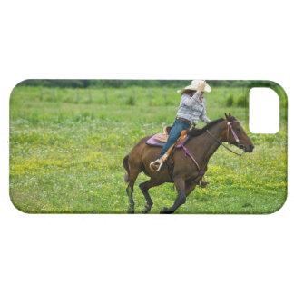 Horseback rider galloping in rural pasture iPhone SE/5/5s case