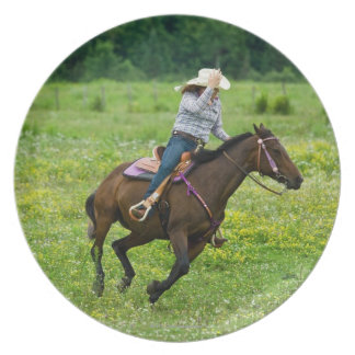 Horseback rider galloping in rural pasture party plate
